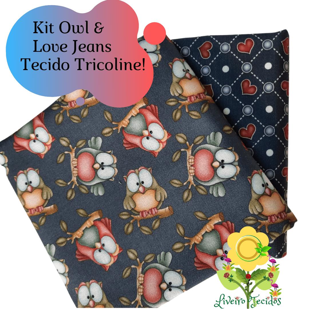KIT DE TECIDO OWL LOVE JEANS 2 CORTES DE TECIDO DE 50 CM X 1,50 MT