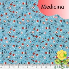 Tecido Tricoline Estampado MEDICINA ( PREÇO DE MEIO METRO )