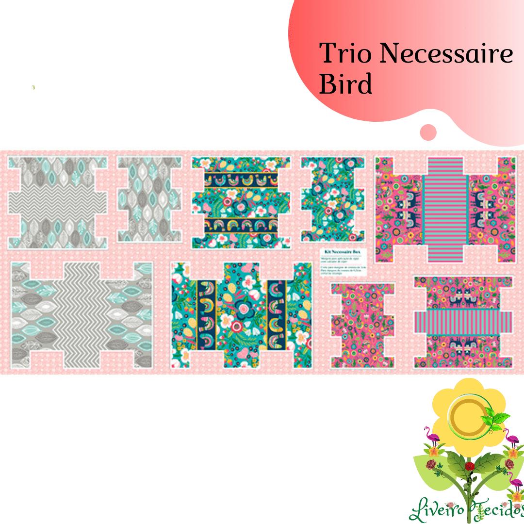 Tecido Tricoline Estampado TRIO NECESSAIRE BIRD ( PREÇO DE MEIO METRO )